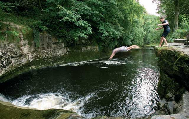 Wild swimming in STAINFORTH FORCE, Yorkshire Dales